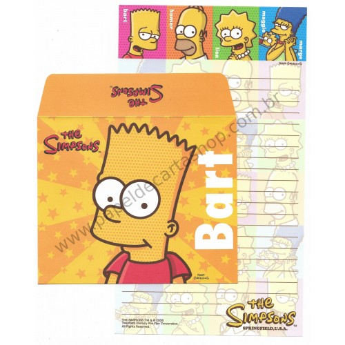 Ano 2006. Conjunto de Papel de Carta Importado Os Simpsons Bart