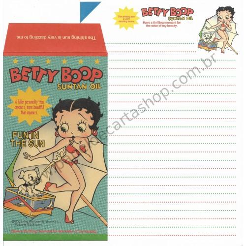 Ano 2003. Conjunto de Papel de Carta IMPORTADO Betty Boop King Verde
