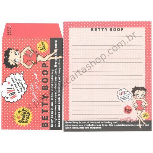Ano 2004. Conjunto de Papel de Carta IMPORTADO Betty Boop CRUX 4