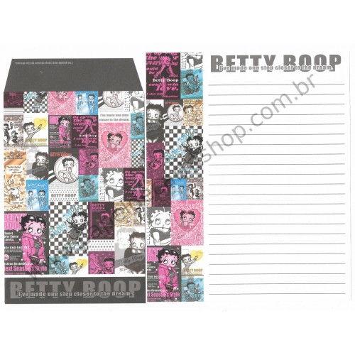 Ano 2004. Conjunto de Papel de Carta IMPORTADO Betty Boop CRUX 6