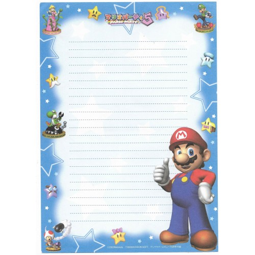 Ano 2003. Papel de Carta Importado Mario Bros. Party