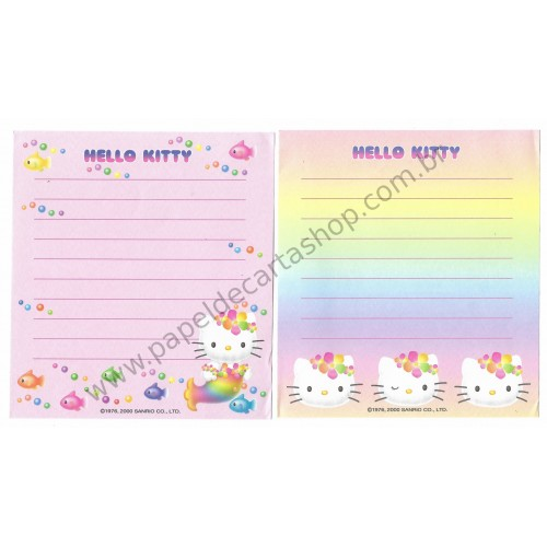Ano 2000. Kit 2 Notas Hello Kitty Mermaid Sanrio