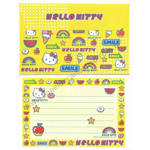 Ano 2002. Conjunto de Papel de Carta P Hello Kitty Smile Sanrio