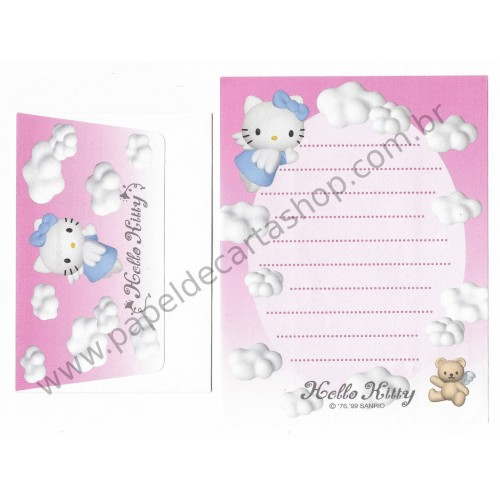 Ano 1999. Conjunto de Mini-Papel de Carta Hello Kitty Angel TRIO CRS Sanrio