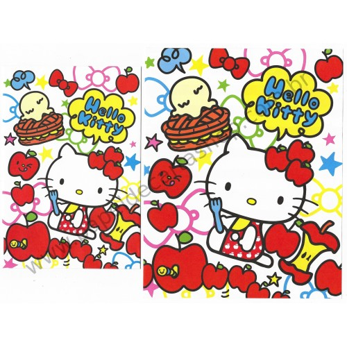 Ano 2013. Conjunto de Papel de Carta Hello Kitty Love Apples Sanrio