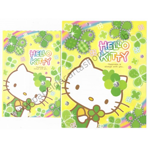 Ano 2013. Conjunto de Papel de Carta Hello Kitty Clovers Sanrio