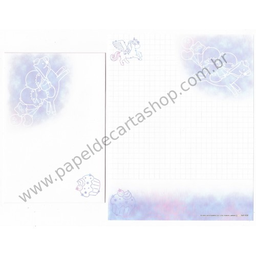 Ano 2016. Kit 2 Conjuntos de Papel de Carta Little Twin Stars Canvas Sanrio