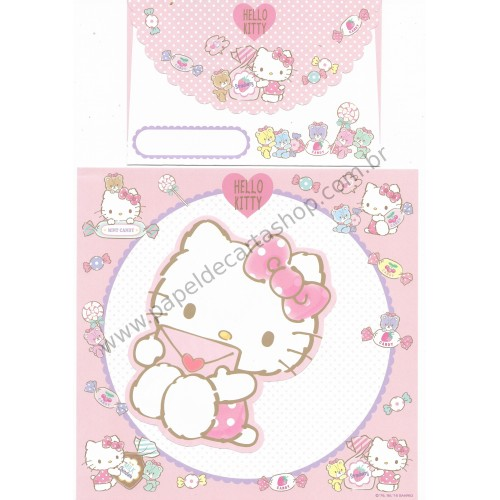 Ano 2016. Kit 2 Conjuntos de Papel de Carta Hello Kitty Letter Sanrio