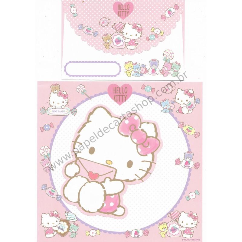 Ano 2016. Kit 2 Conjuntos de Papel de Carta Hello Kitty Letter Sanrio