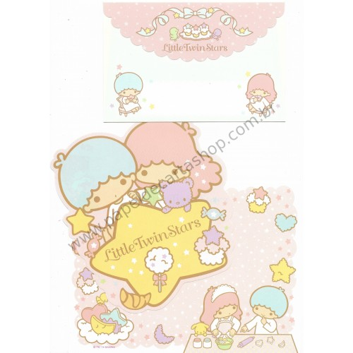 Ano 2014. Kit 2 Conjuntos de Papel de Carta Little Twin Stars Stars Sanrio