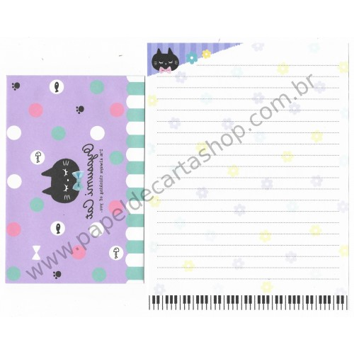 Kit 2 Conjuntos de Papel de Carta Oyasumi Cat - Crux Japan