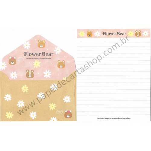 Conjunto de Papel de Carta Flower Bear CRS - Crux Japan