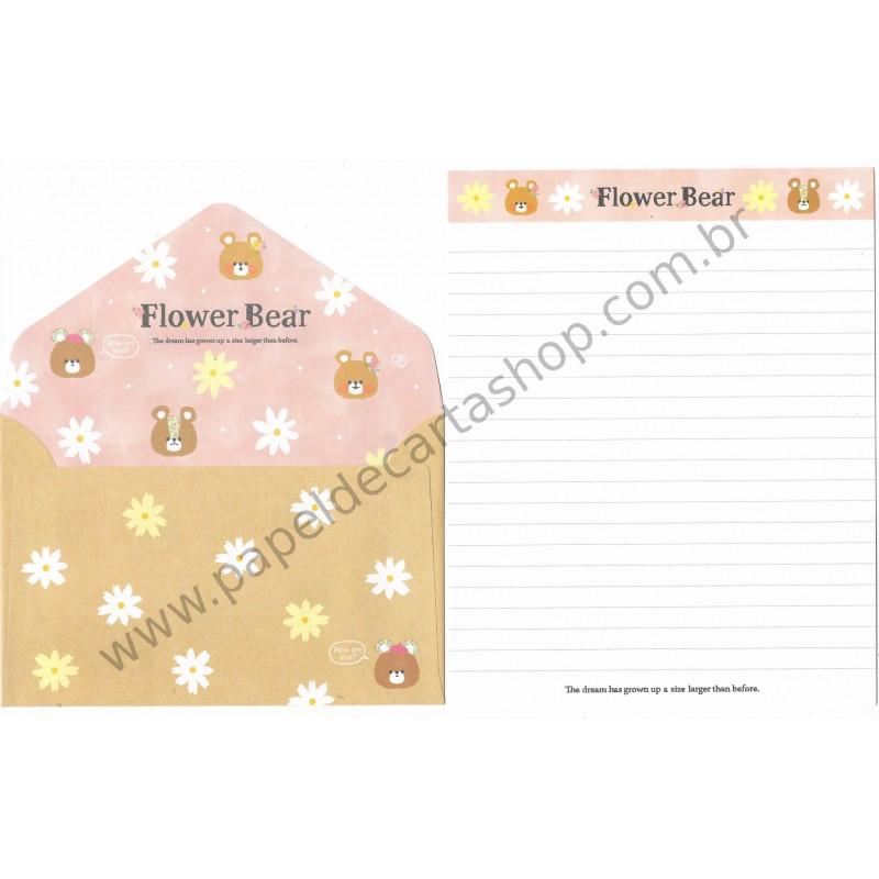 Conjunto de Papel de Carta Flower Bear CRS - Crux Japan