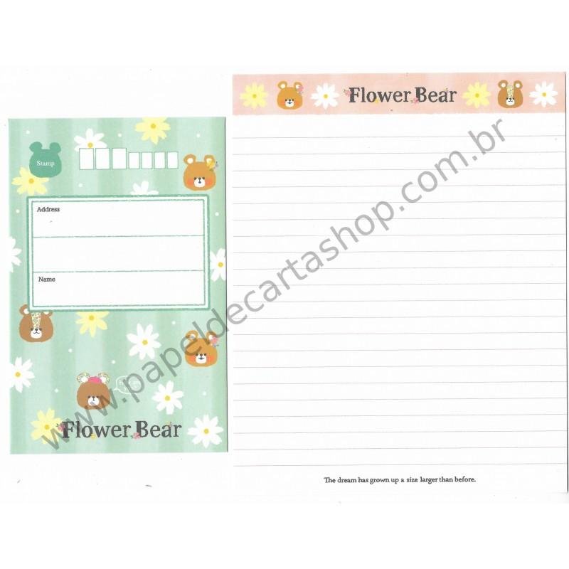 Conjunto de Papel de Carta Flower Bear CVD - Crux Japan
