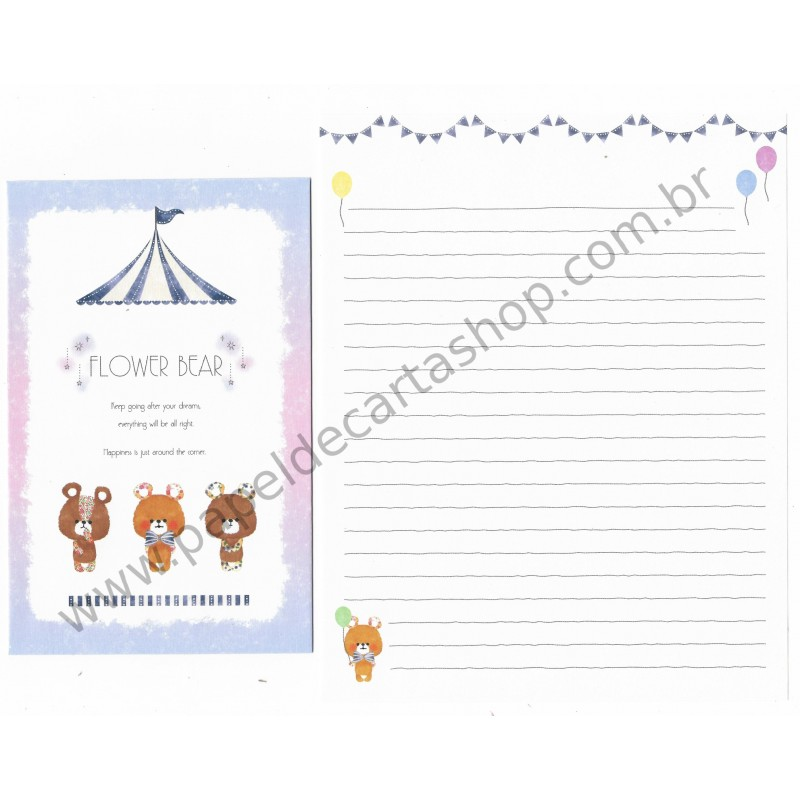 Conjunto de Papel de Carta Flower Bear CLL - Crux Japan