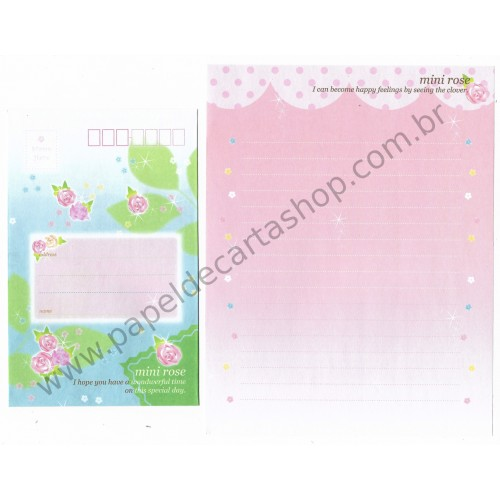 Conjunto de Papel de Carta Importado Mini Rose - Japan
