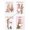 Kit 4 Mini-Cartões de Mensagem Valentines Antigo Importado Holly Hobbie