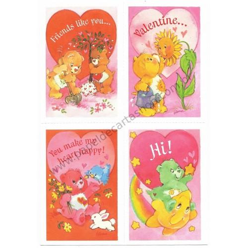 Kit 5 Mini-Cartões de Mensagem Valentines Antigo Importado Ursinhos Carinhosos