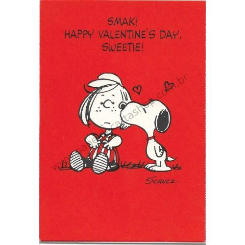 Cartão Postal Valentines Antigo VINTAGE Importado Snoopy3