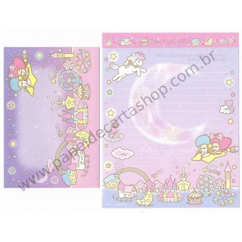 Ano 2014. Conjunto de Papel de Carta Little Twin Stars Night Sky Sanrio