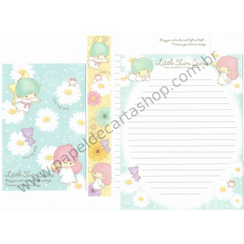 Ano 2015. Kit 2 Conjuntos de Papel de Carta Little Twin Stars Bright Sanrio