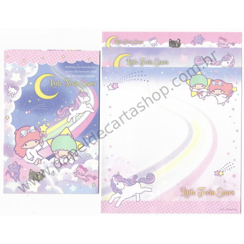 Ano 2015. Kit 2 Conjuntos de Papel de Carta Little Twin Stars Moonbeams Sanrio