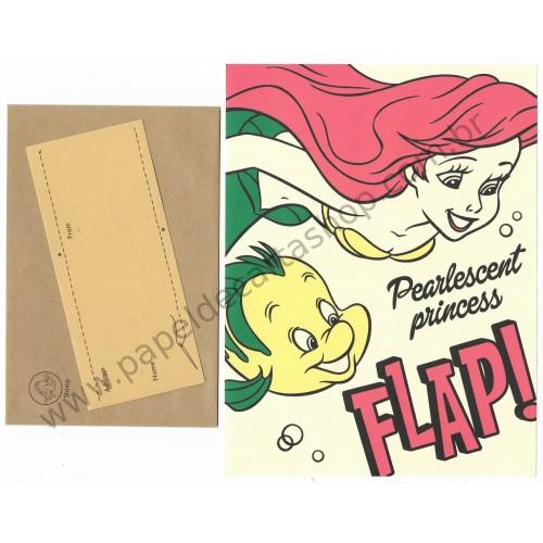 Conjunto de Papel de Carta Disney Little Mermaid Flap! KAMIO JP