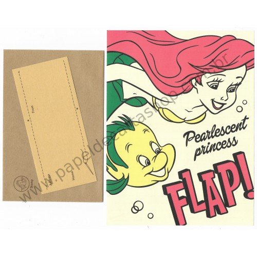 Conjunto de Papel de Carta Disney Little Mermaid Flap! Liito