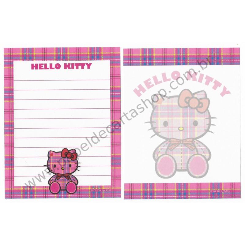 Ano 2009. Kit 2 Notas Hello Kitty Tartan 35th Anniversary Sanrio