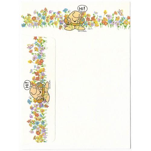 Conjunto de Papel de Carta Antigo Importado Ziggy Flowers