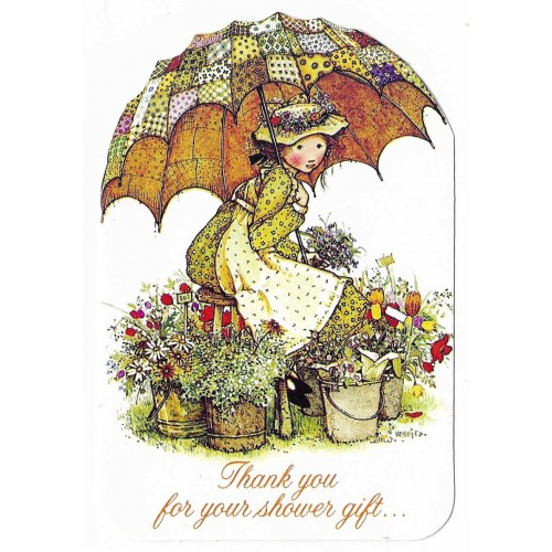 Cartão ANTIGO IMPORTADO HOLLY HOBBIE Umbrella