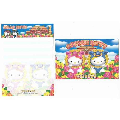 Ano 2015. Kit 2 Conjuntos de Mini-Papel de Carta Hello Kitty OKINAWA Sanrio Japan