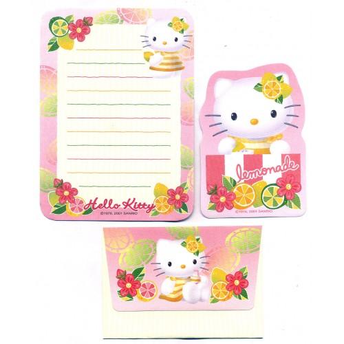 Ano 2001. Conjunto de Papel de Carta Pequeno Hello Kitty Lemonade Antigo (Vintage) Sanrio