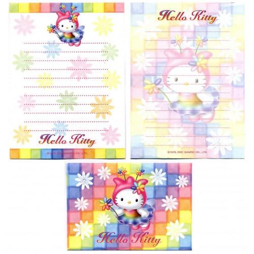 Ano 2001. Conjunto de Papel de Carta Pequeno Hello Kitty Colors Sanrio