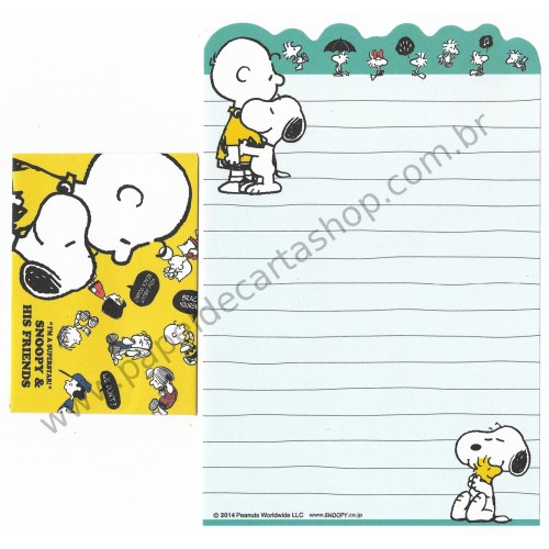 Kit 2 Conjuntos de Mini-Papel de Carta SNOOPY Superstar Peanuts
