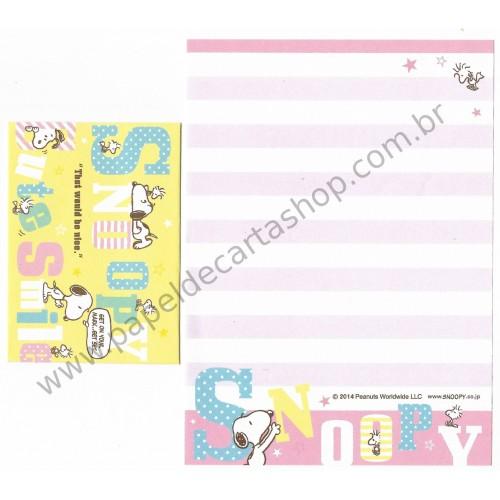 Kit 2 Conjuntos de Mini-Papel de Carta SNOOPY Cute Smile Peanuts