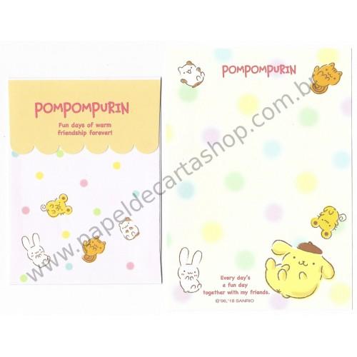 Ano 2018. Kit 3 Conjuntos de Papel de Carta Pompompurin Sanrio