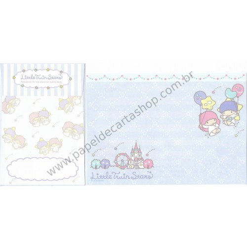 Ano 2018. Kit 3 Conjuntos de Papel de Carta Little Twin Stars Sanrio