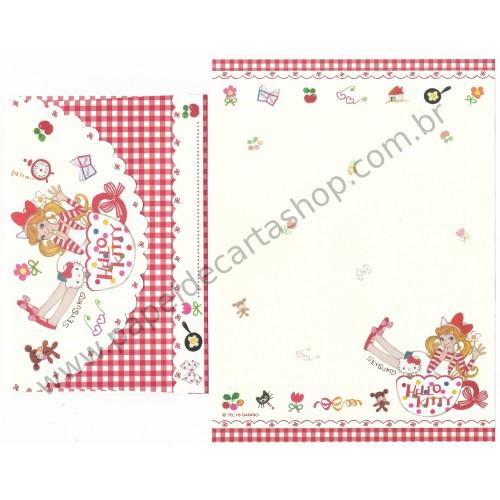 Ano 2018. Conjunto de Papel de Carta Hello Kitty & Setsuko Tamura Sanrio