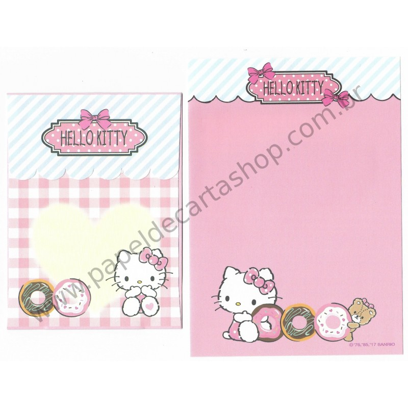 Ano 2017. Kit 3 Conjuntos de Papel de Carta Hello Kitty Sanrio