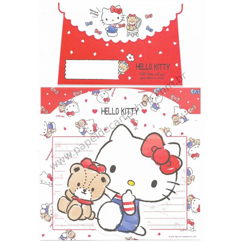 Ano 2017. Kit 2 Conjuntos de Papel de Carta Hello Kitty Sanrio