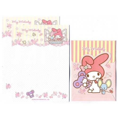Ano 2014. Conjunto de Mini-Papel de Carta My Melody Window - Sanrio