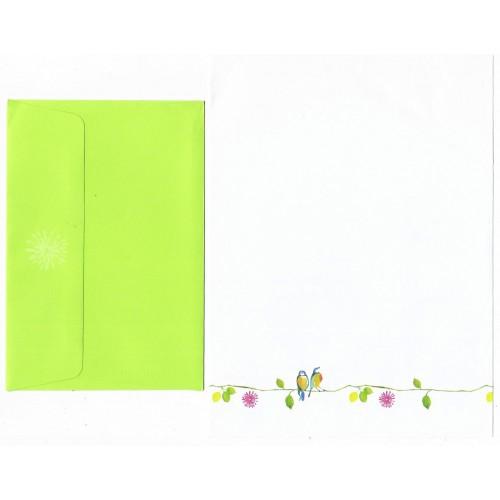 Conjunto de Papel de Carta Coleção Peter Pauper Lime Pássaros