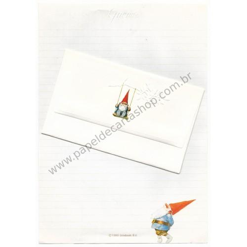 Ano 1980. Conjunto de Papel de Carta Gnomes Vintage Sanrio Unieboek BV