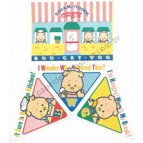 Ano 1985. Conjunto de Papel de Carta BOO GEY WOO Open Antigo (Vintage) Sanrio