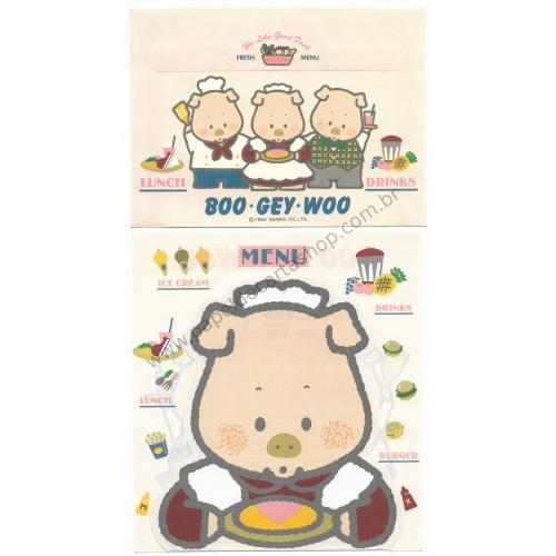 Ano 1984. Conjunto de Papel de Carta BOO GEY WOO Lunch Drinks CRS Vintage Sanrio