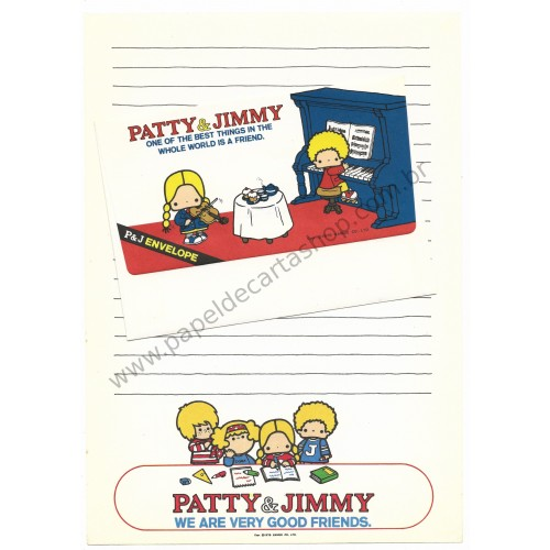 Ano 1976. Conjunto de Papel de Carta Vintage Patty & Jimmy Sanrio