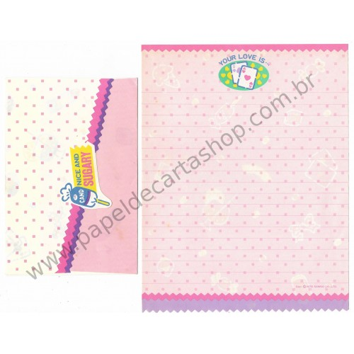 Ano 1979. Conjunto de Papel de Carta Fresh Punch Nice and Sugary CRS Vintage Sanrio