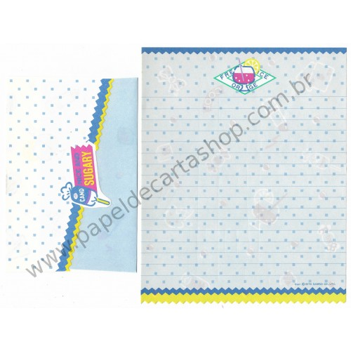 Ano 1979. Conjunto de Papel de Carta Fresh Punch Nice and Sugary CAZ Vintage Sanrio