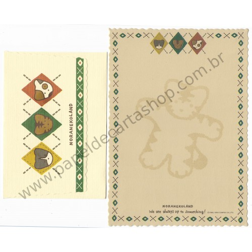 Ano 1990. Conjunto de Papel de Carta Noranekoland Vintage Sanrio